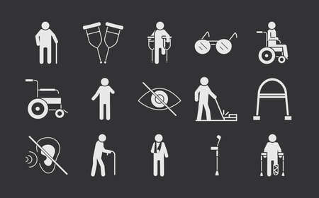 world disability day, silhouette icon set black background vector illustration