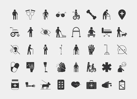 world disability day, silhouette icon set design vector illustration