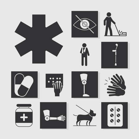world disability day, medical orthopedic and medicine equipment, silhouette icon set design vector illustration