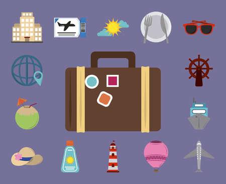 Illustration pour summer vacation travel, suitcase hotel ticket sunglasses cocktail plane flat style collection vector illustration - image libre de droit