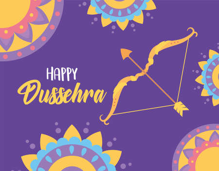 Illustration for happy dussehra festival of india decorative mandalas bow arrow greeting card vector illustration - Royalty Free Image