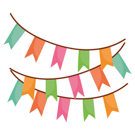 Illustration for pennants decoration festive party isolated icon design vector illustration - Royalty Free Image