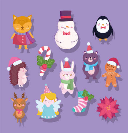Illustration pour merry christmas, cute snowman bear penguin deer bunny fox flower sock cartoon icons vector illustration - image libre de droit