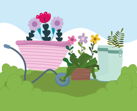 Illustration for Gardening, wheelbarrow pot and boots with flowers and plants vector illustration - Royalty Free Image