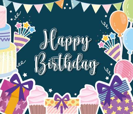 Illustration pour Birthday celebration party festive card - image libre de droit