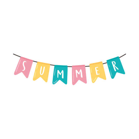 Illustration for summer pennants decoration icon isolated - Royalty Free Image