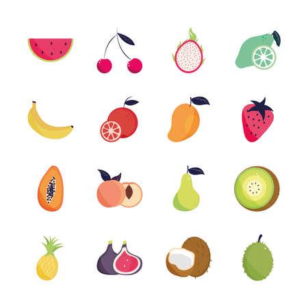 Illustration pour tropical fruits exotic nature organic - image libre de droit
