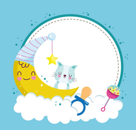 Illustration for baby shower cat pacifier moon - Royalty Free Image