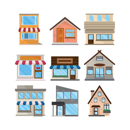 Illustration for set facades exterior architecture buildings - Royalty Free Image