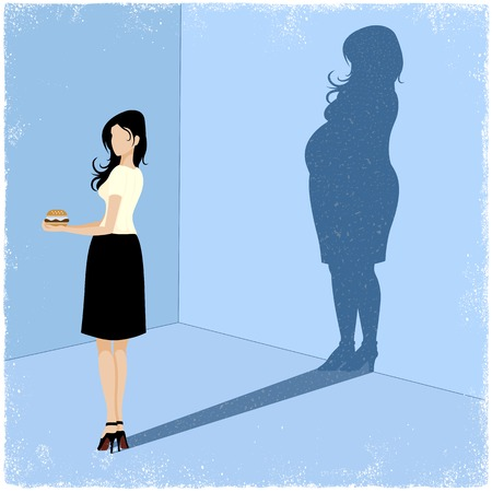 Slim woman casting fat woman shadow in vector