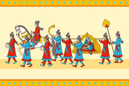 Illustration pour Indian wedding baraat ceremony - image libre de droit