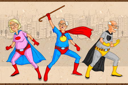 Foto de Retro style comics Superhero old man and woman showing is power strength in vector - Imagen libre de derechos