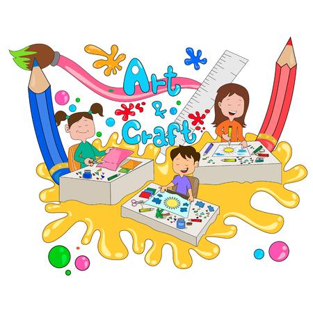 Children enjoying summer camp art and craft activities in vector