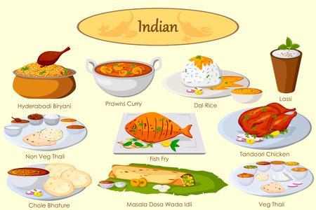 Vektor für Collection of delicious Indian food in vector - Lizenzfreies Bild