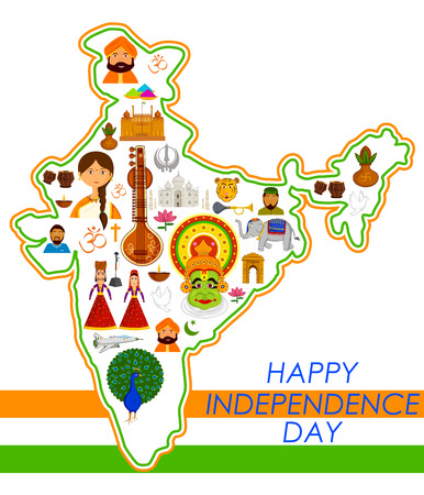 Illustration pour 15th August, Happy Independence Day of India in vector background - image libre de droit