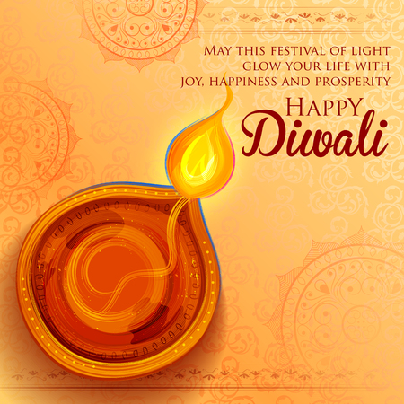 Illustration pour illustration of burning diya on Happy Diwali Holiday background for light festival of India - image libre de droit