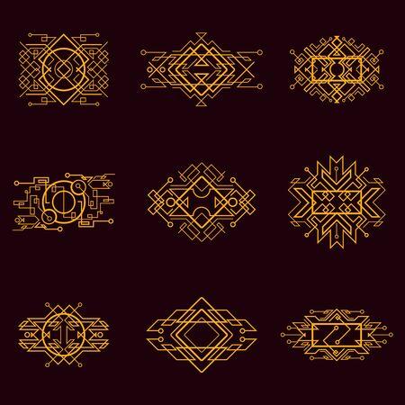 Illustration for Golden vintage victorian art decor decorative ornamental divider design frames for elegant banner creative template design for wedding invitation card - Royalty Free Image