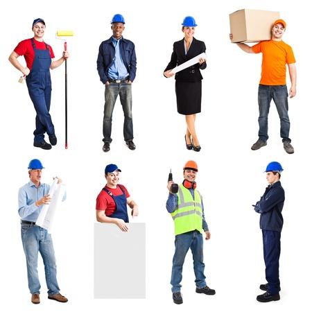 Photo pour Full length portrait of many workers - image libre de droit