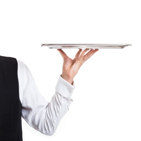 Professional waiter holding an empty dish  Isolated on white