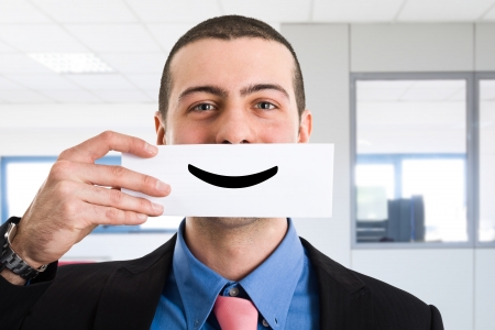 Photo pour Portrait of a funny smiling businessman - image libre de droit