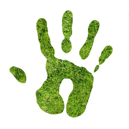 Green handprint made from grass