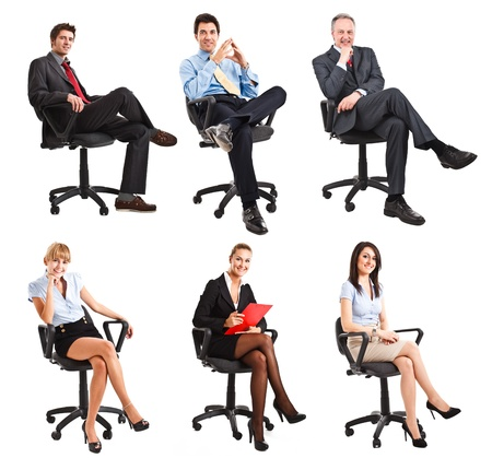 Photo for Collection of full length portraits of business people sitting on a chair - Royalty Free Image