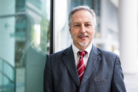 Photo pour Portrait of a smiling businessman - image libre de droit