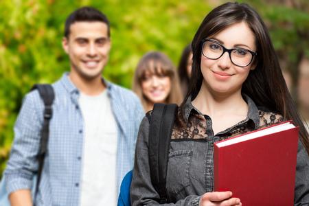 Photo pour Students at the park - image libre de droit