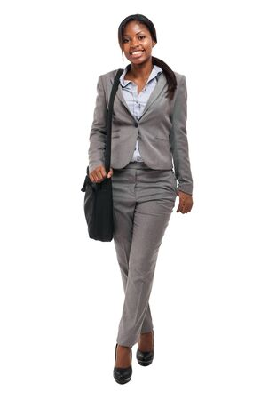 African businesswoman holding a briefcase