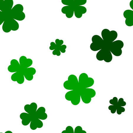 Illustration pour Green four leaf clover seamless pattern, St Patrick day background for textile, wrapping paper, social media, greeting card, poster, celebration banner, web, promotion, shop ad - image libre de droit