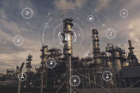 Photo pour Industrial instruments in the factory with cyber and physical system icons ,Internet of things network,smart factory solution.Industry 4.0 concept image. - image libre de droit