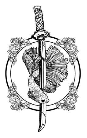 Illustration pour Tattoo art siamese fighting fish hand drawing and sketch black and white - image libre de droit