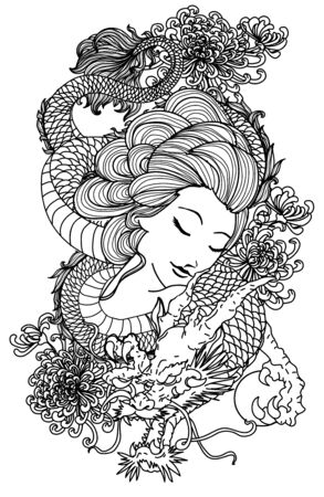 Illustration pour Tattoo women and dragon hand drawing sketch black and white - image libre de droit