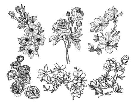Foto für flowers hand drawing and sketch black and white - Lizenzfreies Bild