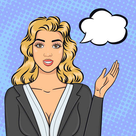 Photo pour Pop art blonde business woman in suit pointing on speech bubble, offering succesful idea or strategy, vector illustration in retro comic style - image libre de droit
