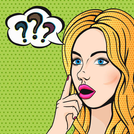 Photo pour Vector pop art stupid woman face with question marks. Blonde thinking woman with open mouth comics style illustration. - image libre de droit