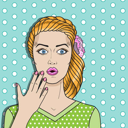 Illustration pour Pop art woman confused, red hair surprised woman. Comic woman vector for advertising poster or card. - image libre de droit