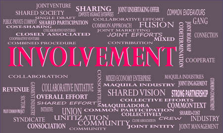 Involvement a business related terminology created on word cloud abstract background for commercial education purpose.