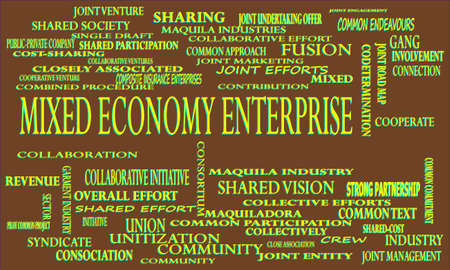 Mixed Economy Enterprise a business related terminology created on word cloud abstract background for commercial education purpose.
