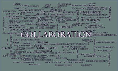 Collaboration a business related terminology created on word cloud abstract background for commercial education purpose.