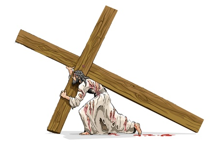 Illustration for Jesus Christ Carrying Cross - Royalty Free Image