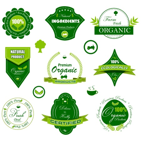 vector illustration of set of badge for organic tag