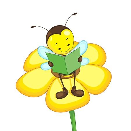 Ilustración de Editable vector bee reading on a flower - Imagen libre de derechos