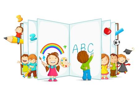 Illustration pour vector illustration of kid reading open book sitting on floor - image libre de droit