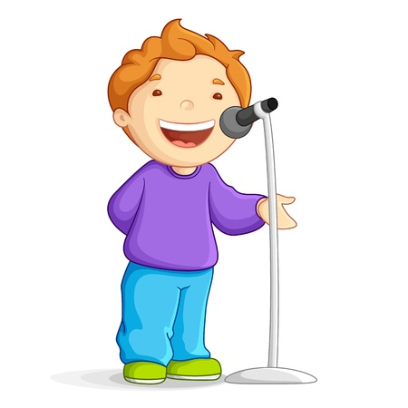 Vektor für Singing School Boy - Lizenzfreies Bild