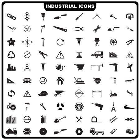 illustration of complete set of industrial icon