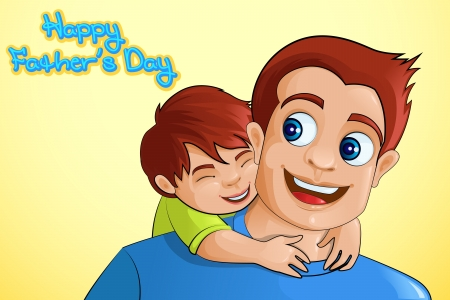 Illustration pour Father and son in Father s Day background - image libre de droit