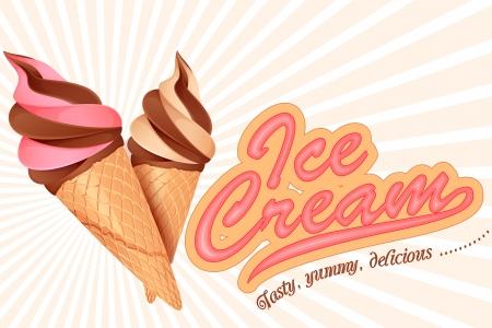 vector illustration of colorful ice cream cone