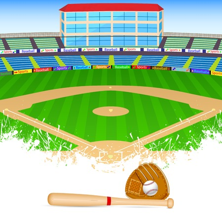 Baseball field illustration mural murals your way for Baseball field mural