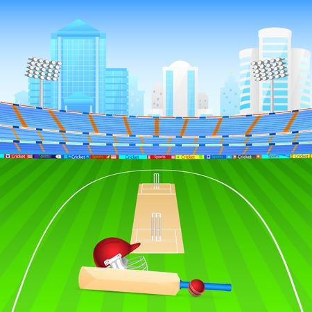 illustration of cricket bat and ball in stadium